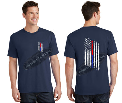 Navy Thin BLUE / RED Line Tattered American Flag Short Sleeve Shirt