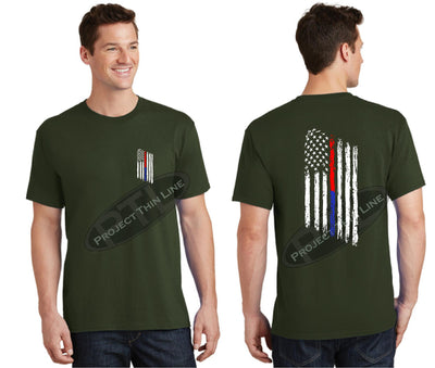 OD Green Thin BLUE / RED Line Tattered American Flag Short Sleeve Shirt
