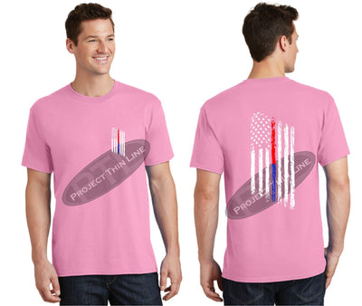 Pink Thin BLUE / RED Line Tattered American Flag Short Sleeve Shirt