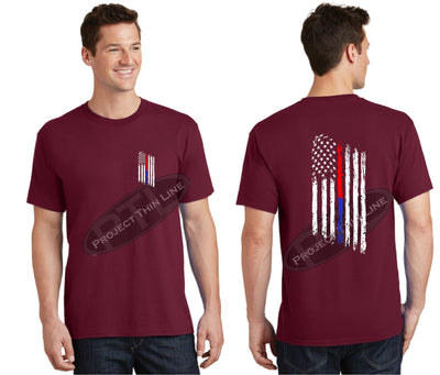 Red Thin BLUE / RED Line Tattered American Flag Short Sleeve Shirt
