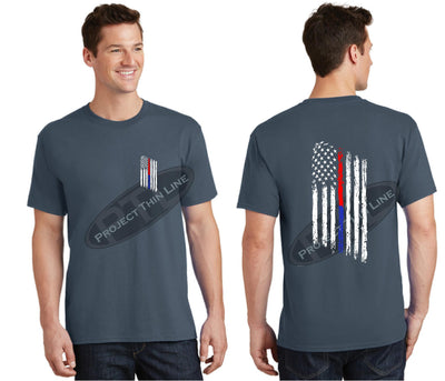 Steel Blue Thin BLUE / RED Line Tattered American Flag Short Sleeve Shirt