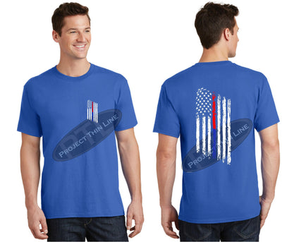 Royal Thin BLUE / RED Line Tattered American Flag Short Sleeve Shirt