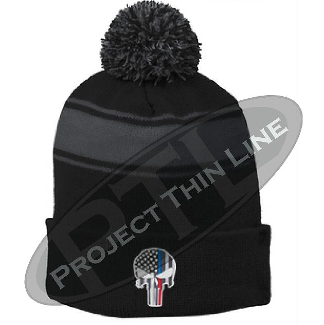 Thin BLUE / RED Line Embroidered Punisher Skull Black Pom Pom Winter Hat