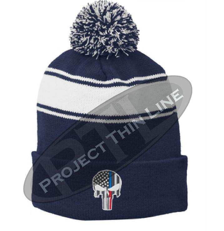 Thin BLUE / RED Line Embroidered Punisher Skull Blue Pom Pom Winter Hat