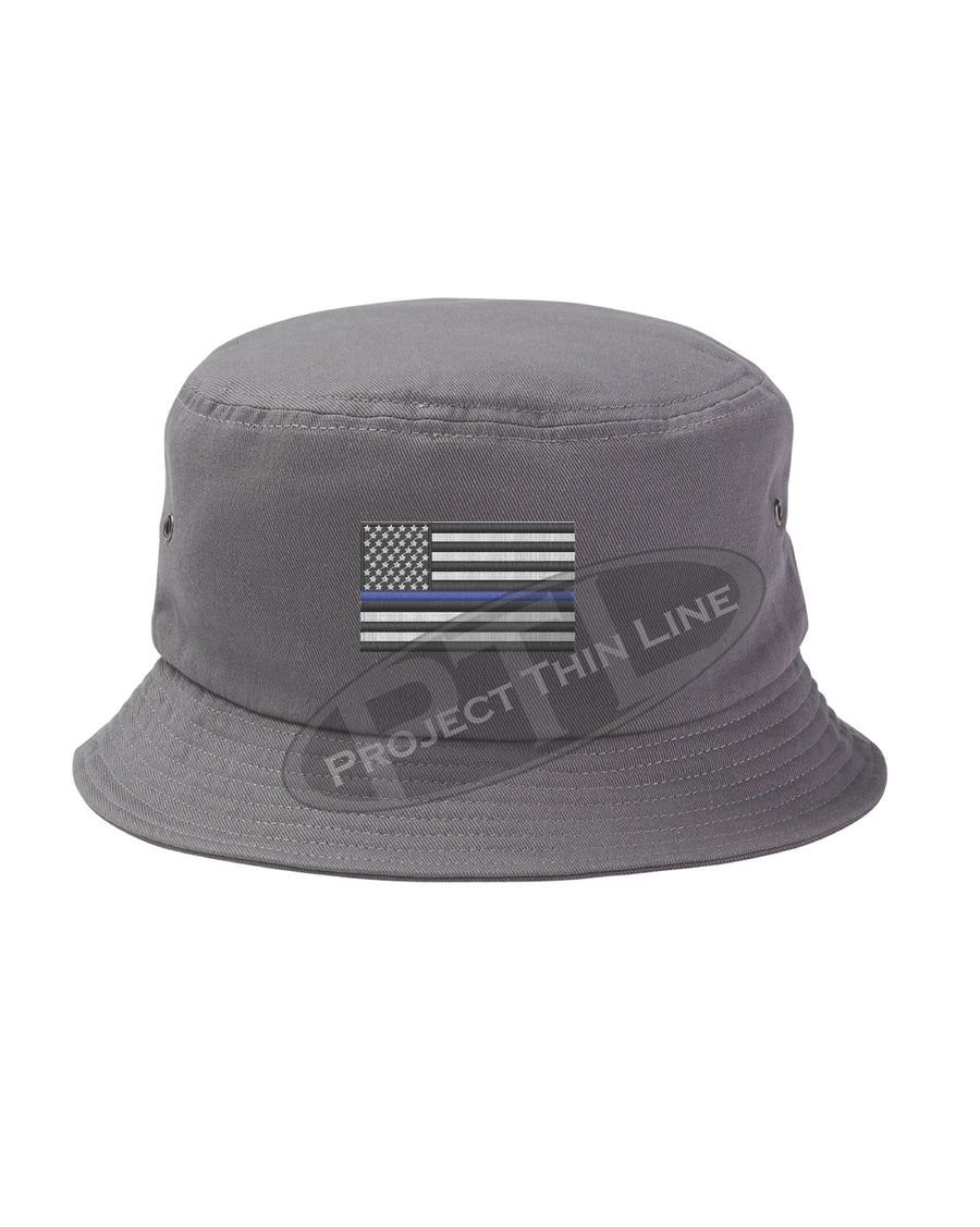BLACK - Embroidered Thin BLUE Line American Flag Bucket - Fisherman Hat