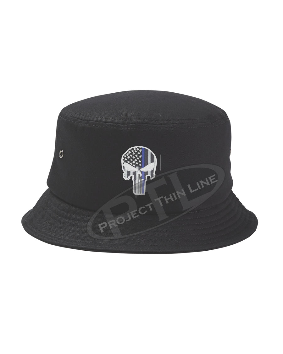 15e9a821489e6 BLACK - Embroidered Thin BLUE Line Skull inlayed with American Flag Bucket  - Fisherman Hat