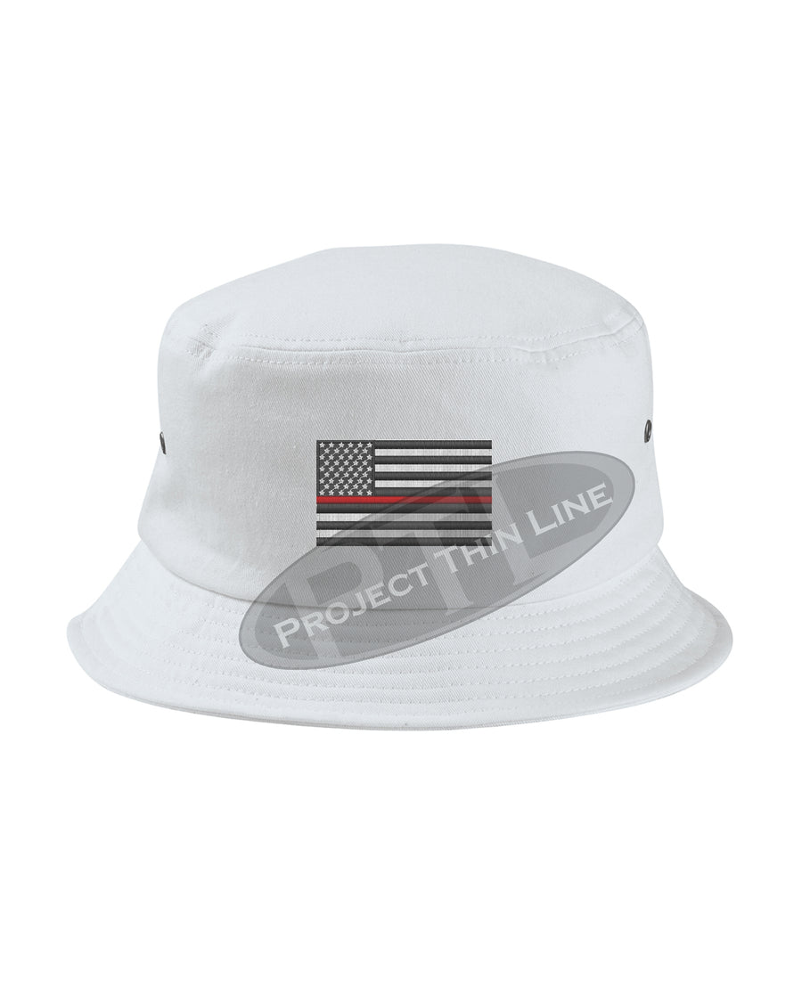 Black - Embroidered Thin RED Line American Flag Bucket - Fisherman Hat