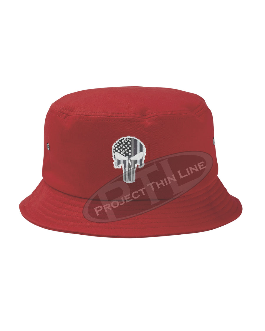 Embroidered TACTICAL Skull inlayed with American Flag Bucket - Fisherman Hat
