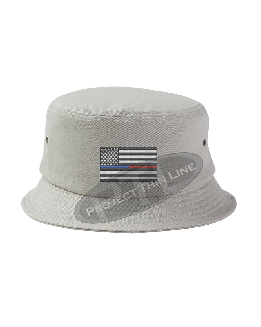 BLACK - Embroidered Thin Blue / Red Line American Flag Bucket - Fisherman Hat