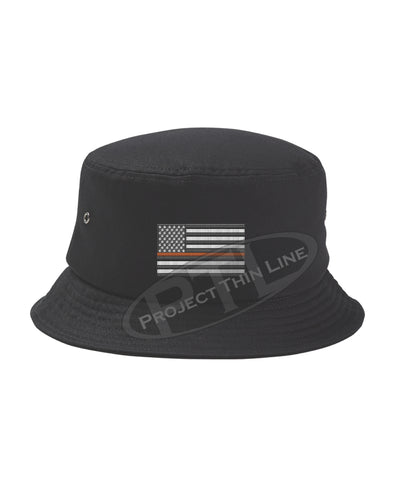 Black Embroidered Thin ORANGE Line American Flag Bucket - Fisherman Hat