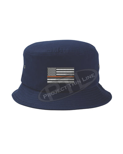 Navy Embroidered Thin ORANGE Line American Flag Bucket - Fisherman Hat