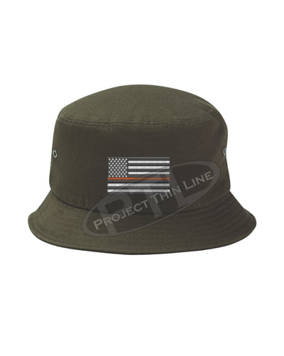 OD Green Embroidered Thin ORANGE Line American Flag Bucket - Fisherman Hat