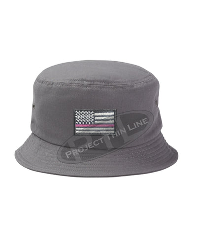 CHARCOAL - Embroidered Thin PINK Line American Flag Bucket - Fisherman Hat
