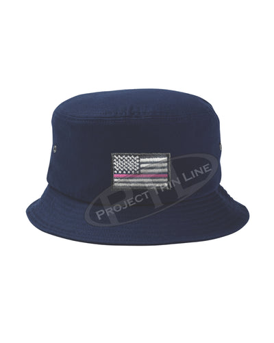 NAVY - Embroidered Thin PINK Line American Flag Bucket - Fisherman Hat