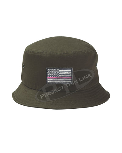 OD GREEN Embroidered Thin PINK Line American Flag Bucket - Fisherman Hat