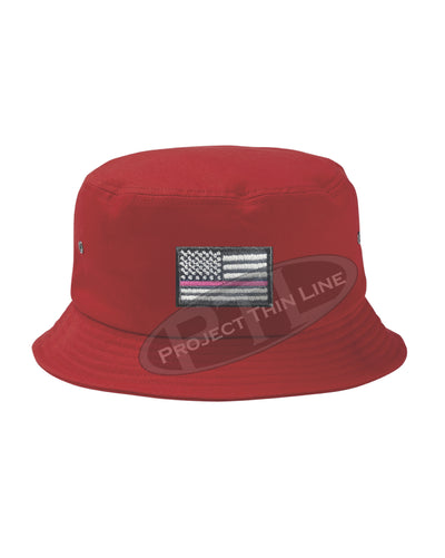 RED - Embroidered Thin PINK Line American Flag Bucket - Fisherman Hat