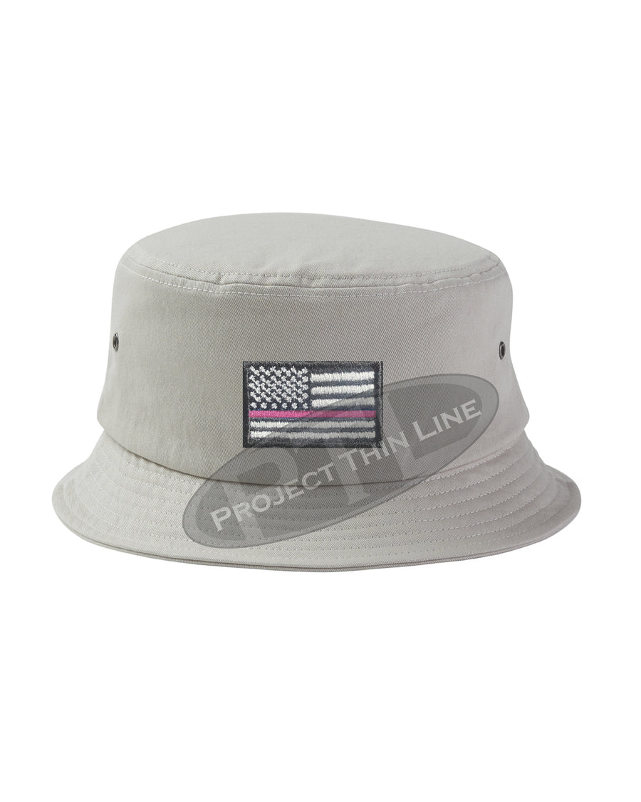 BLACK - Embroidered Thin PINK Line American Flag Bucket - Fisherman Hat
