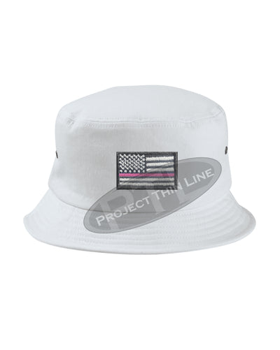 WHITE - Embroidered Thin PINK Line American Flag Bucket - Fisherman Hat