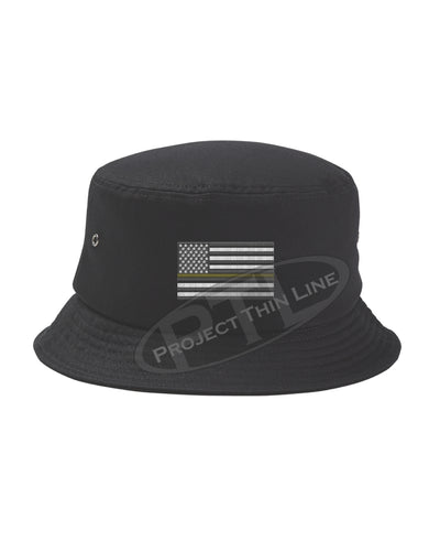 BLACK - Embroidered Thin GOLD Line American Flag Bucket - Fisherman Hat
