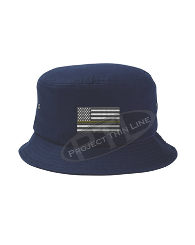 NAVY - Embroidered Thin GOLD Line American Flag Bucket - Fisherman Hat