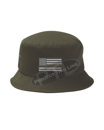 OD GREEN - Embroidered Thin YELLOW Line American Flag Bucket - Fisherman Hat