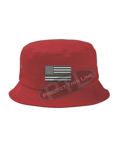 RED - Embroidered Thin GOLD Line American Flag Bucket - Fisherman Hat