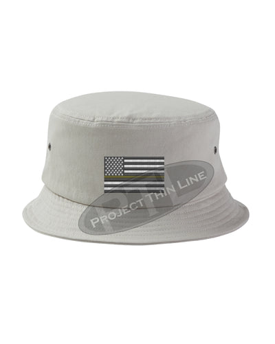 STONE - Embroidered Thin YELLOW Line American Flag Bucket - Fisherman Hat