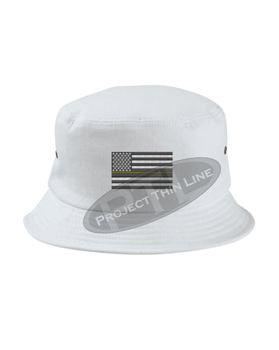 WHITE - Embroidered Thin GOLD Line American Flag Bucket - Fisherman Hat