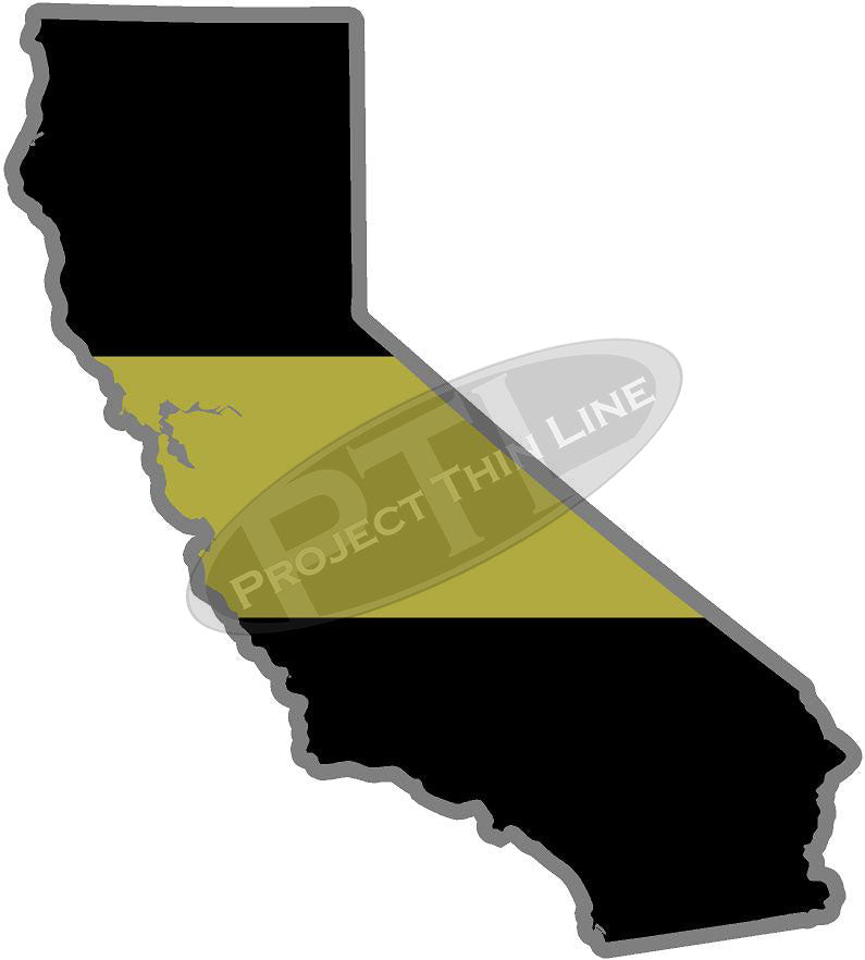"5"" California CA Thin Gold Line State Sticker Decal"