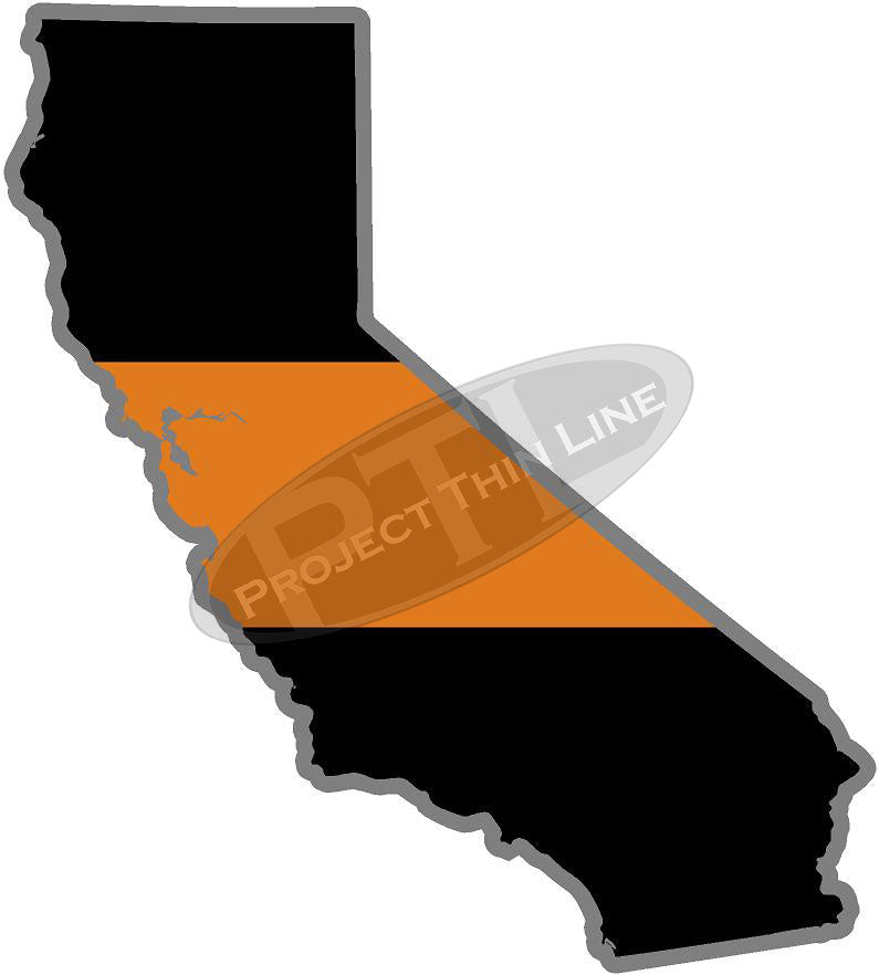 "5"" California CA Thin Orange Line Black State Shape Sticker"