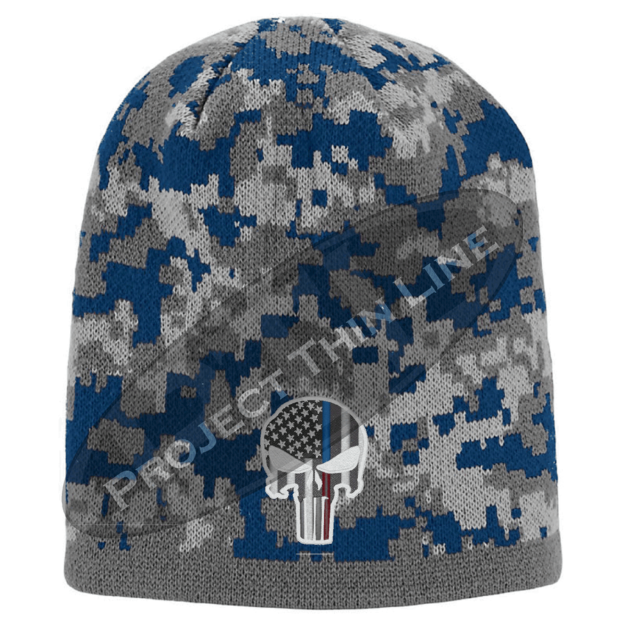 Camouflage Thin Blue / Red Line Punisher Inlayed American FLAG Skull Cap