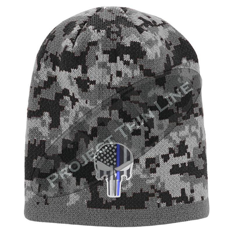 BLACK Camo with Thin Blue Line Punisher Skull inlayed subdued American Flag