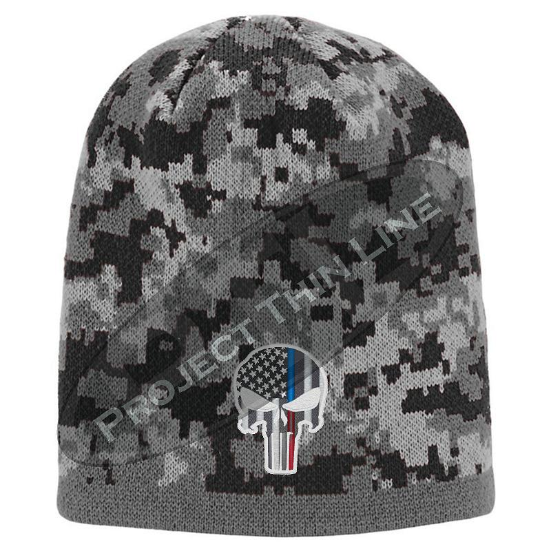 BLACK Camo with Thin Blue / Red Line Punisher Skull inlayed subdued American Flag