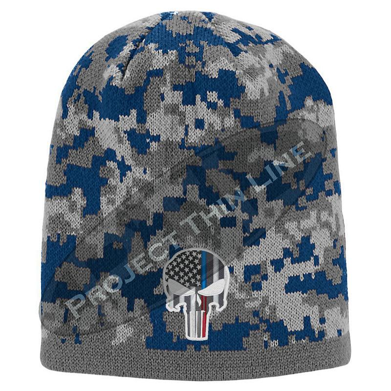 Blue Camouflage Thin Blue / Red Line Punisher Inlayed American FLAG Skull Cap