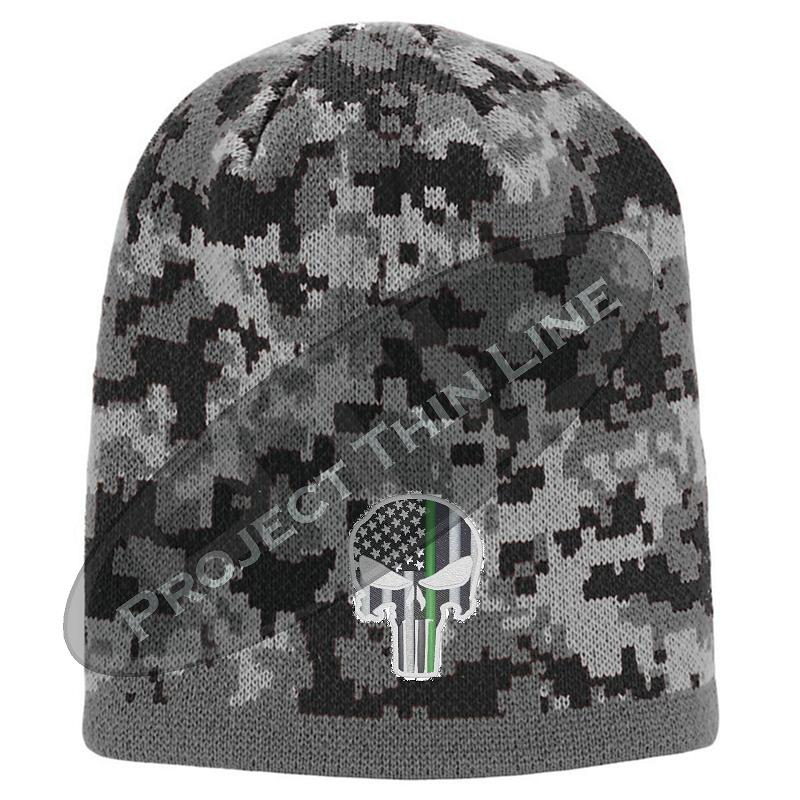 BLACK Camo with Thin Green Line Punisher Skull inlayed subdued American Flag