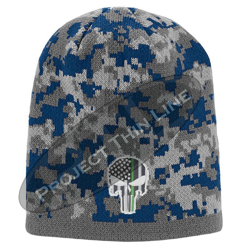 Blue Camouflage Thin GREEN Line Punihser Inlayed with American FLAG Skull Cap