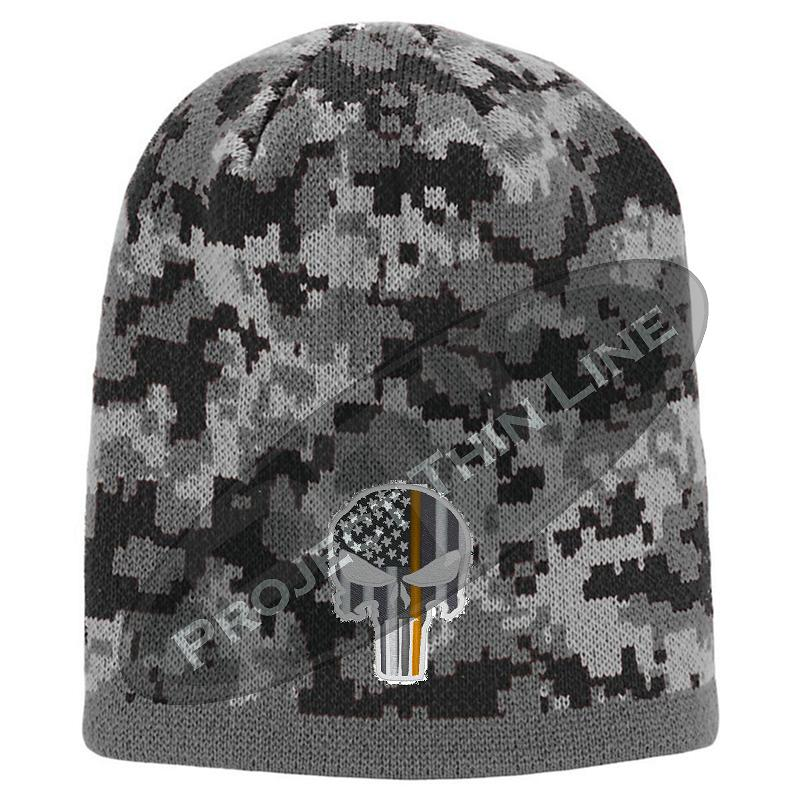Black Camouflage  Skull Cap with embroidered Subdued Orange Punisher SkullCamouflage  Skull Cap with embroidered Subdued Orange Punisher Skull inlayed with American Flag