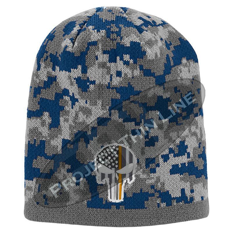 Blue Camouflage  Skull Cap with embroidered Subdued Orange Punisher Skull inlayed with American Flag