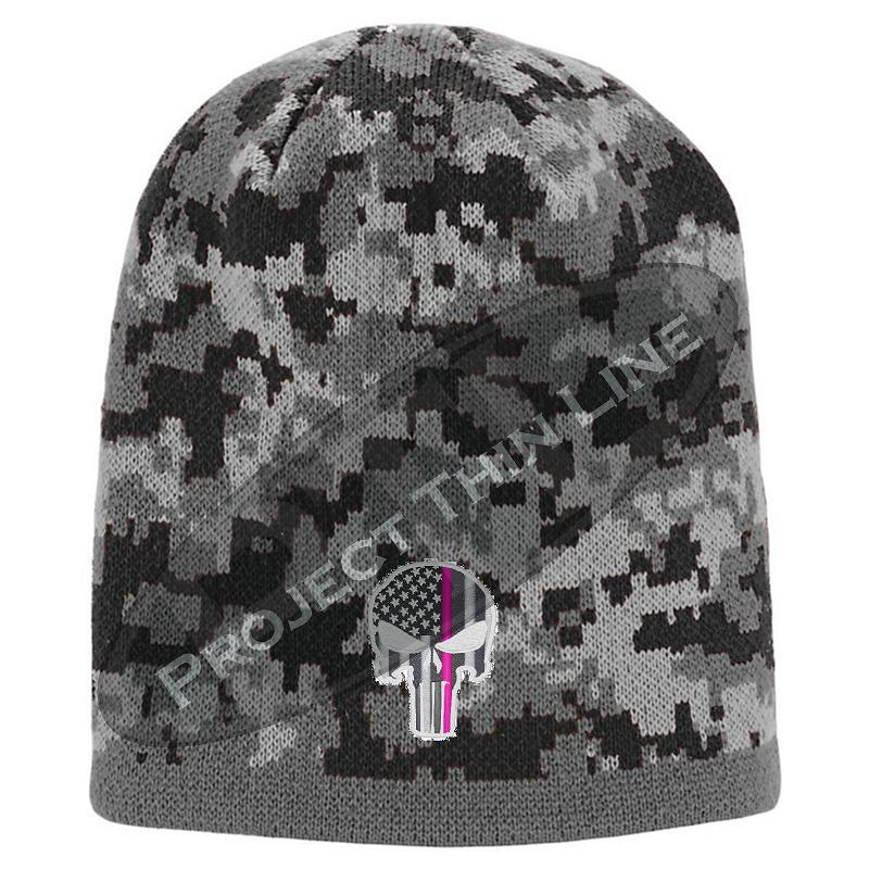 Black Camo Thin PINK Line Punisher Inlayed American FLAG Skull Cap