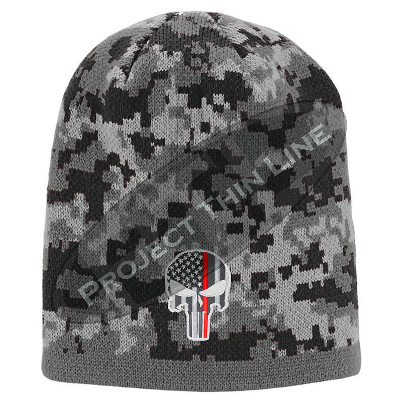 Black Camo Thin RED Line Punisher Inlayed American FLAG Skull Cap
