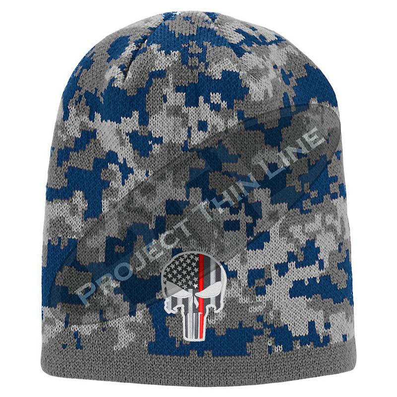 Blue Camo Thin RED Line Punisher Inlayed American FLAG Skull Cap