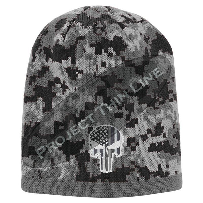 Black Camouflage Thin SILVER Line Punisher Inlayed American FLAG Skull Cap