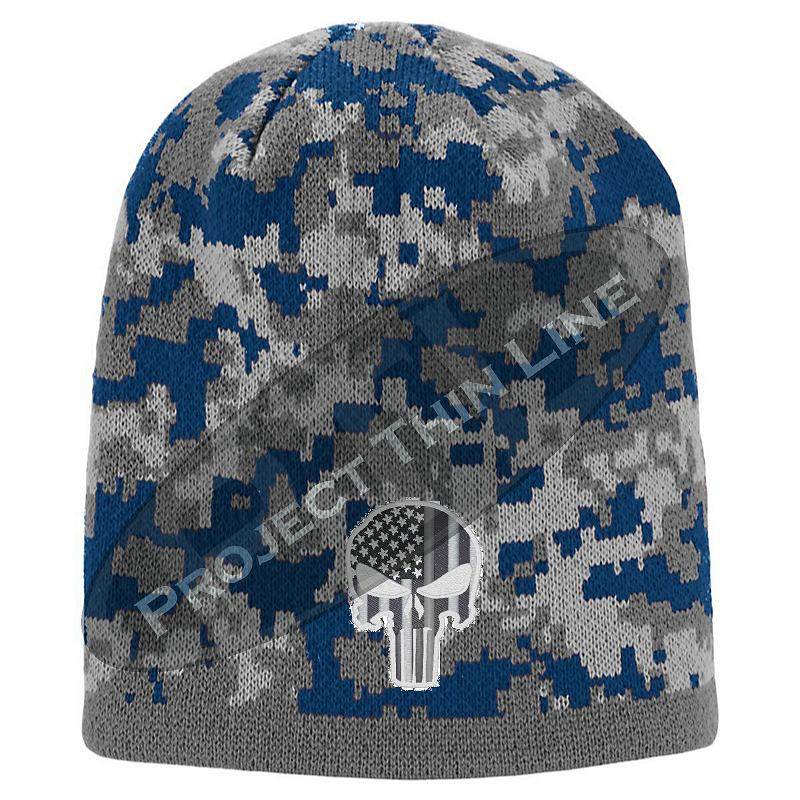 Blue Camo TACTICAL Punisher Inlayed with American Flag Skull Cap