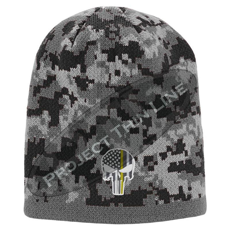 Black Camouflage Thin YELLOW Line Punisher Inlayed American FLAG Skull Cap
