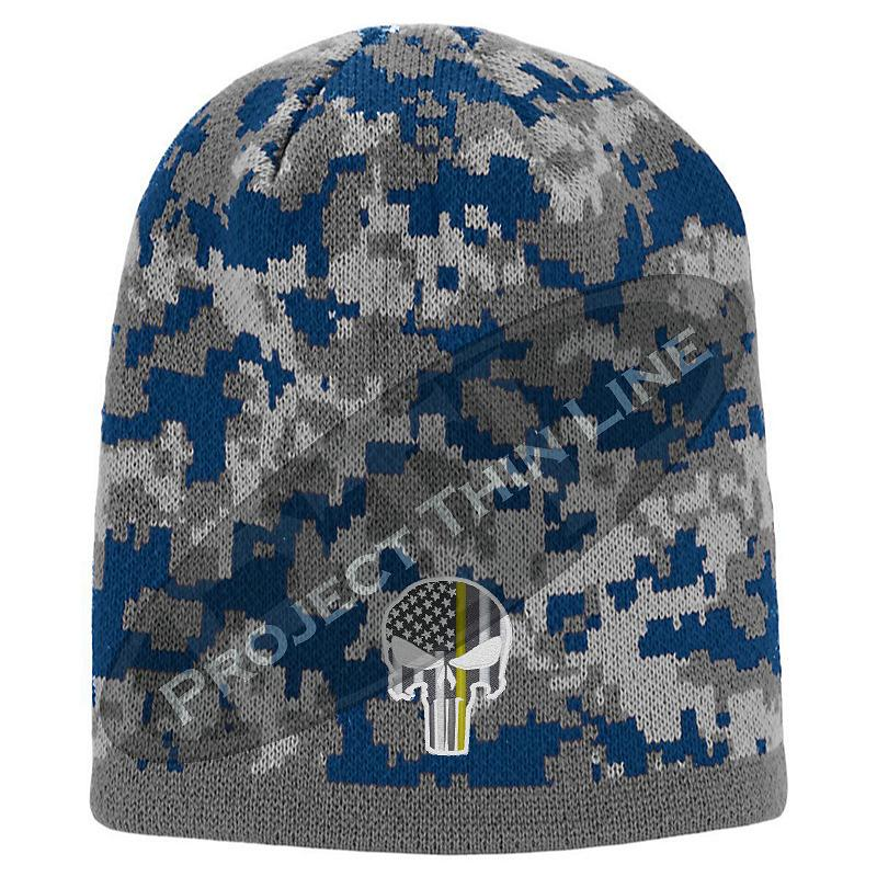 Blue Camo Thin YELLOW Line Punisher Inlayed American FLAG Skull Cap