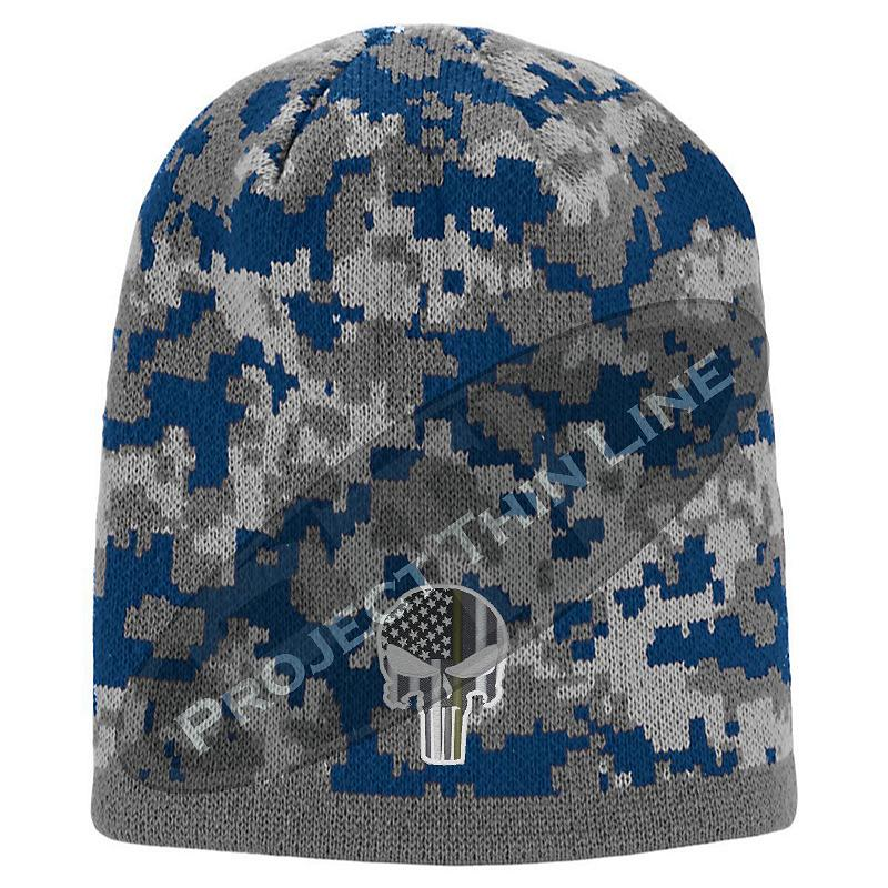 Blue Camouflage Thin GOLD Line Punisher inlayed with Subdued American Flag Winter Skull Cap