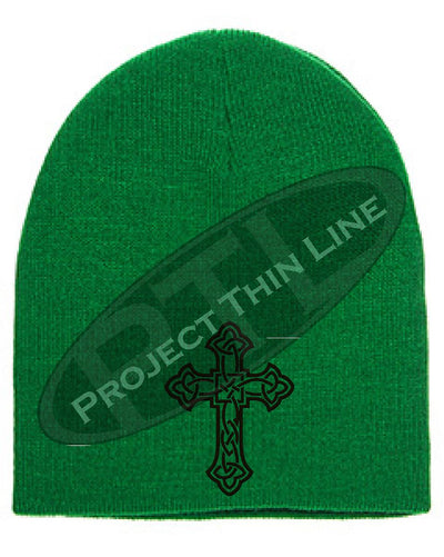 Green Skull Cap with Embroidered Black Celtic Cross