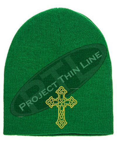 GREEN Skull Cap with Embroidered Gold Celtic Cross