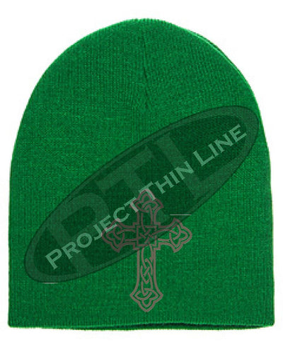 Green Skull Cap with Embroidered Silver Celtic Cross