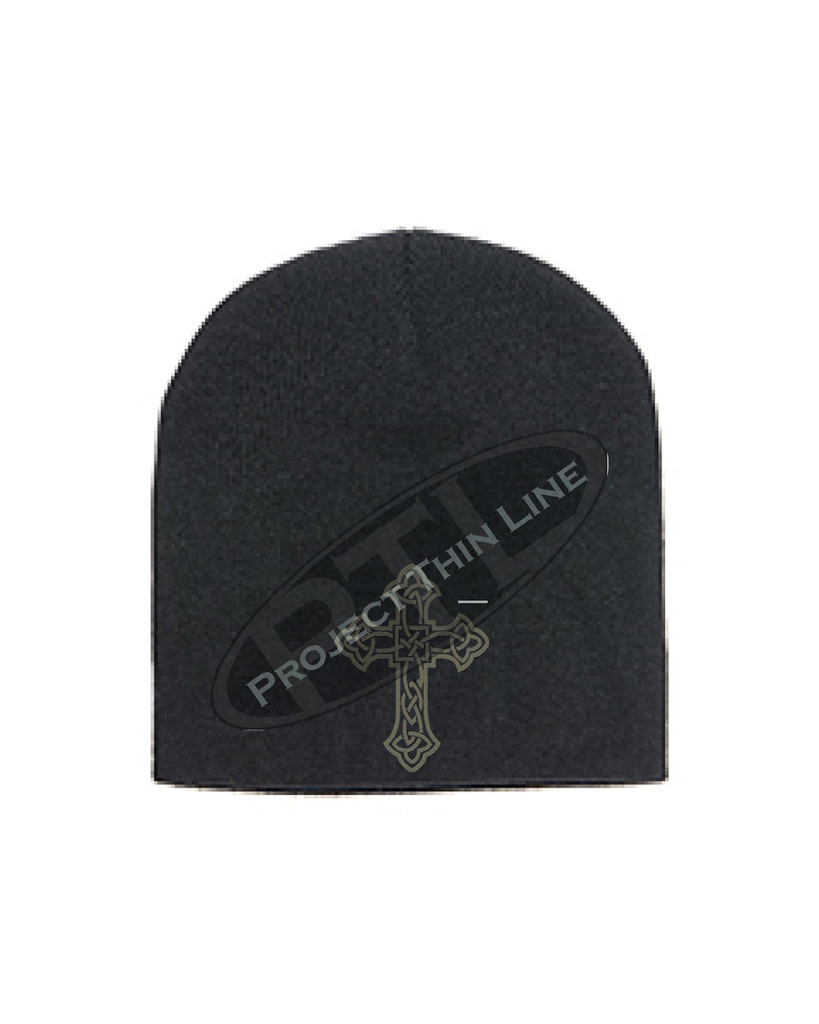 Black Skull Cap with Embroidered Gold Celtic Cross